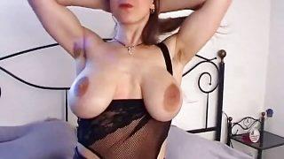 Busty girl with big saggy tits & hairy pussy masturbates